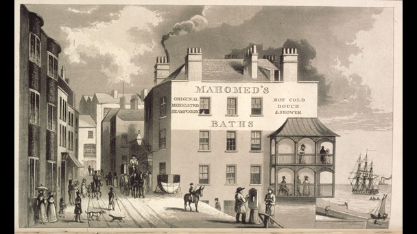 Engraving of Mahomed's Baths in Brighton, from S D Mahomed's 1826 book
