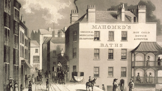 Making home article thumbnail featuring print of Sake Dean Mahomed's baths in Brighton