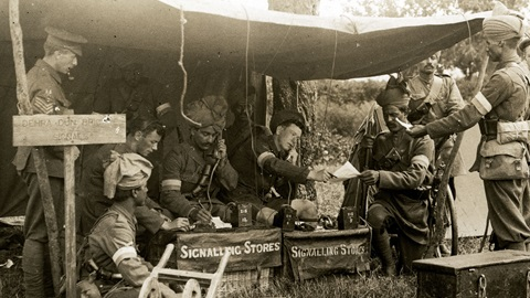 World Wars article thumbnail featuring image of British and Indian communications unit