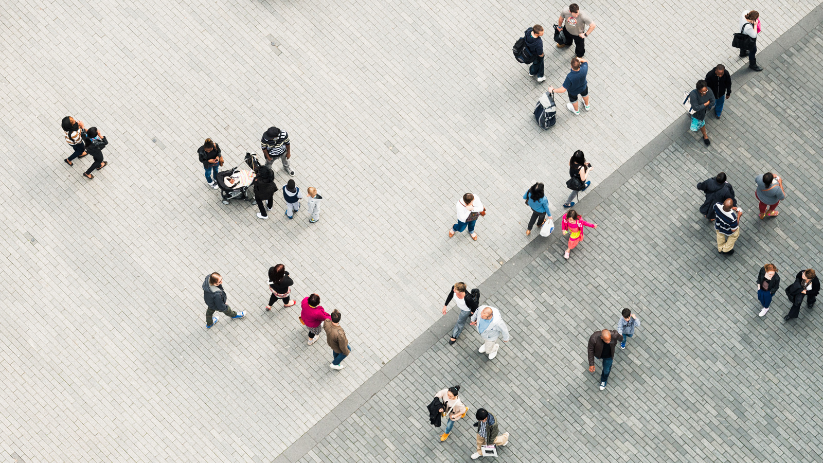 Photograph of a crowd from above