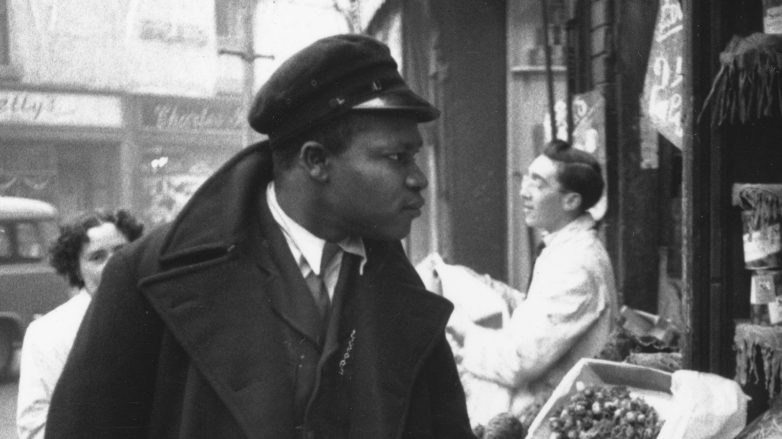 Black and white photograph of a Caribbean man in Britain
