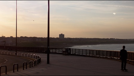 Photograph of promenade in Whitley Bay at sunset