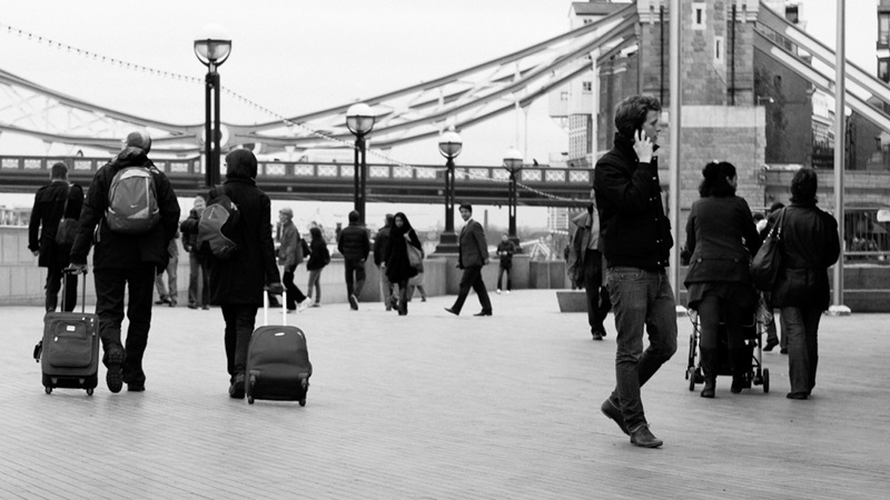 Photograph of people next to Tower Bridge