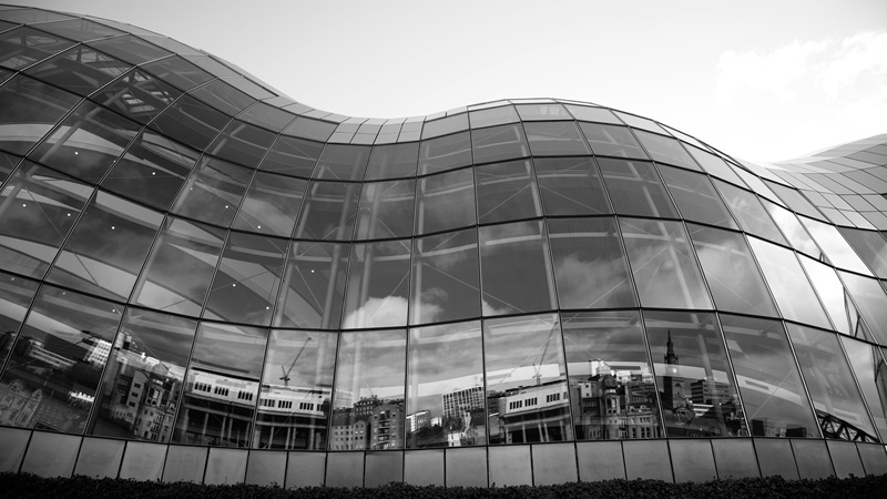 Black and white photograph of Sage Gateshead