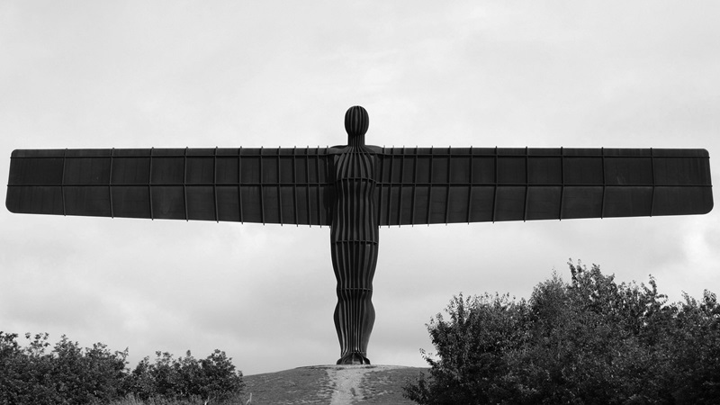 Black and white photograph of the Angel of the North