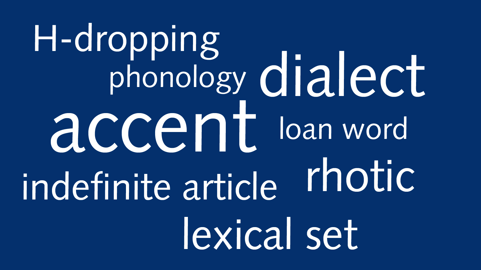 Word cloud containing technical terms relating to accents and dialects
