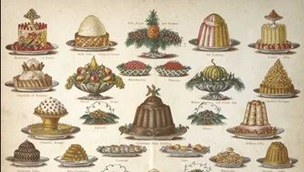 Lots of drawings of desserts including a large jelly and trifle.