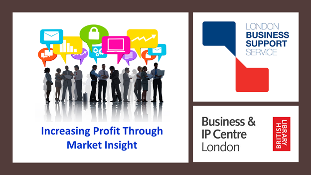 Poster for the increasing profits webinar including LBSS logo and the Business and IP Centre logo