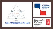 Poster for the project management webinar including LBSS logo and the Business and IP Centre logo