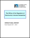 The Office of the Regulator of Community Interest Companies: operational report: fourth quarter 2011-2012