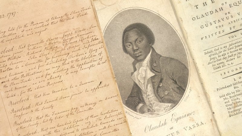 Handwritten minutes from an abolitionist meeting and a portrait of Olaudah Equiano, an abolitionist of African descent