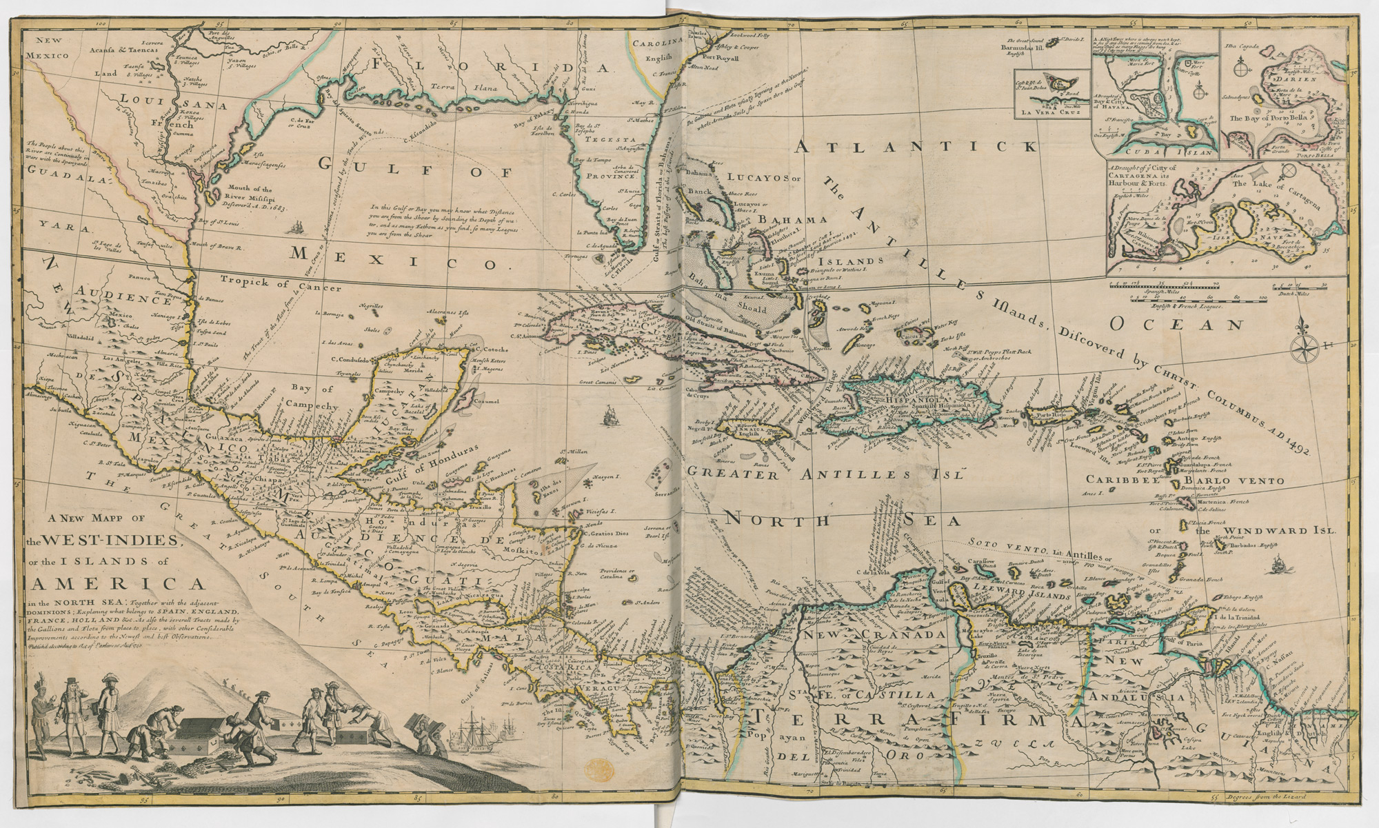 Map Of England France And Spain.A Map Of The West Indies The British Library