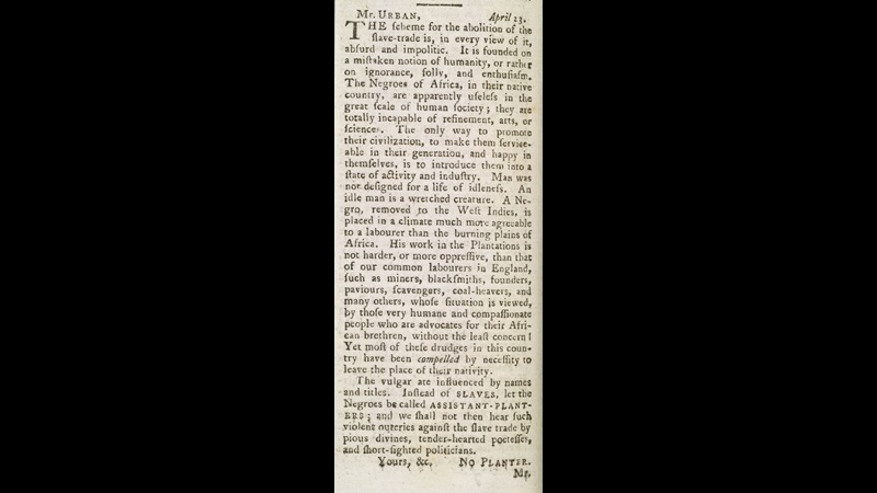 Printed letter defending the slave trade