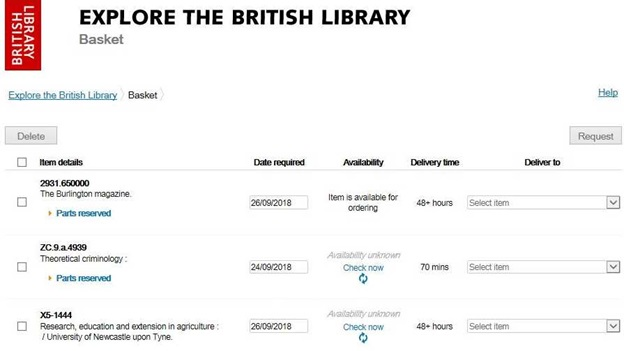 Example of records in your basket in the Library's catalogue