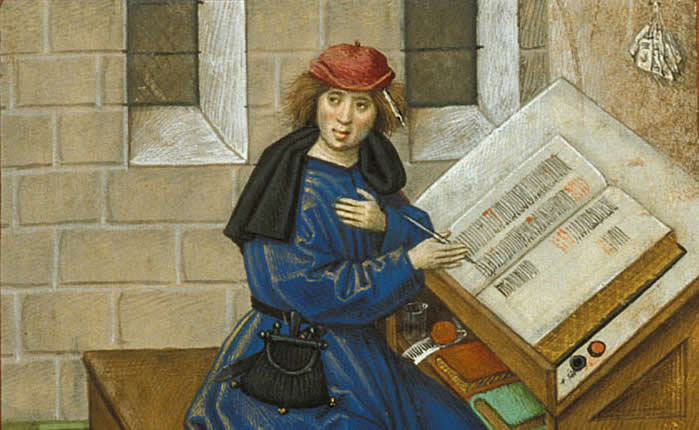 Detail of a miniature of the author writing his book from Roman de la rose