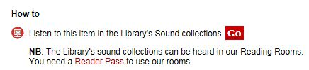 Catalogue message - How to listen to Sound Collection items