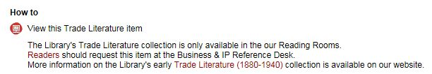 Catalogue message - How to view Trade Literature collections items