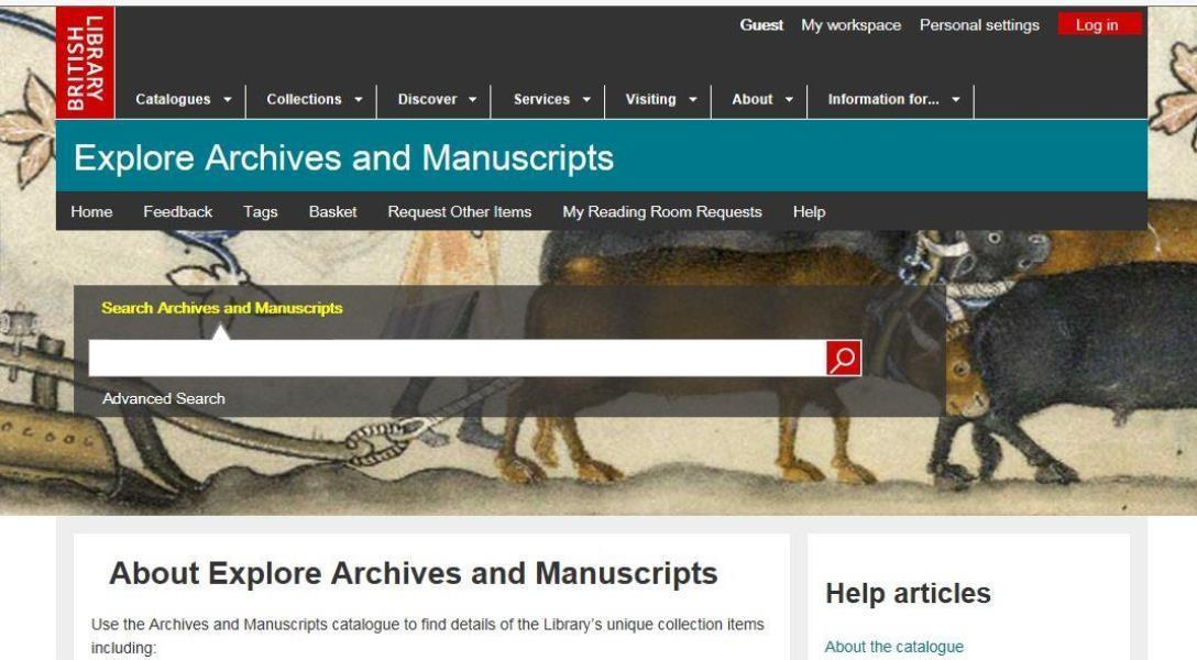 Screenshot of the Library's catalogue, Explore Archives and Manuscripts