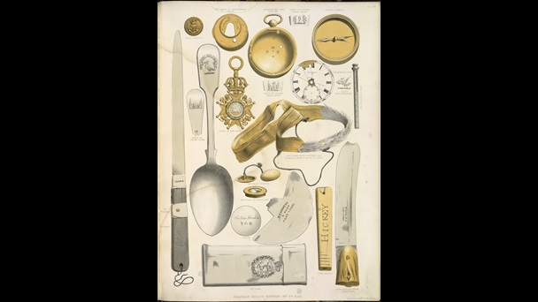 Illustration showing relics of John Franklin, including a silver spoon, a knife, chronometer, gold band from a cap, a tin case and an Order of the Bath medal.