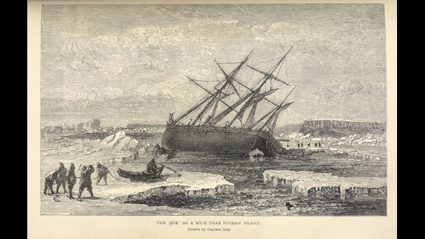 A sailing ship keeling at a sharp angle, watched by men standing on ice.