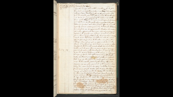 A page from Captain Cook's logbook filled with writing in his hand.
