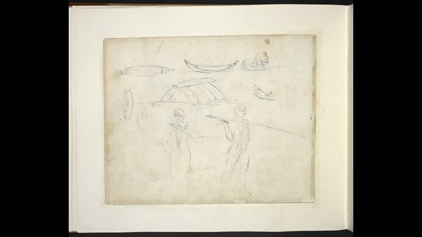 Loose pencil sketches of two standing men, one holds a spear with a spear thrower. Also sketches of shields and canoes and a man in a canoe.