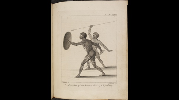 An engraving of two aboriginal men in an aggressive pose. One holds a spear, the other holds a sharp pointed club and shield.
