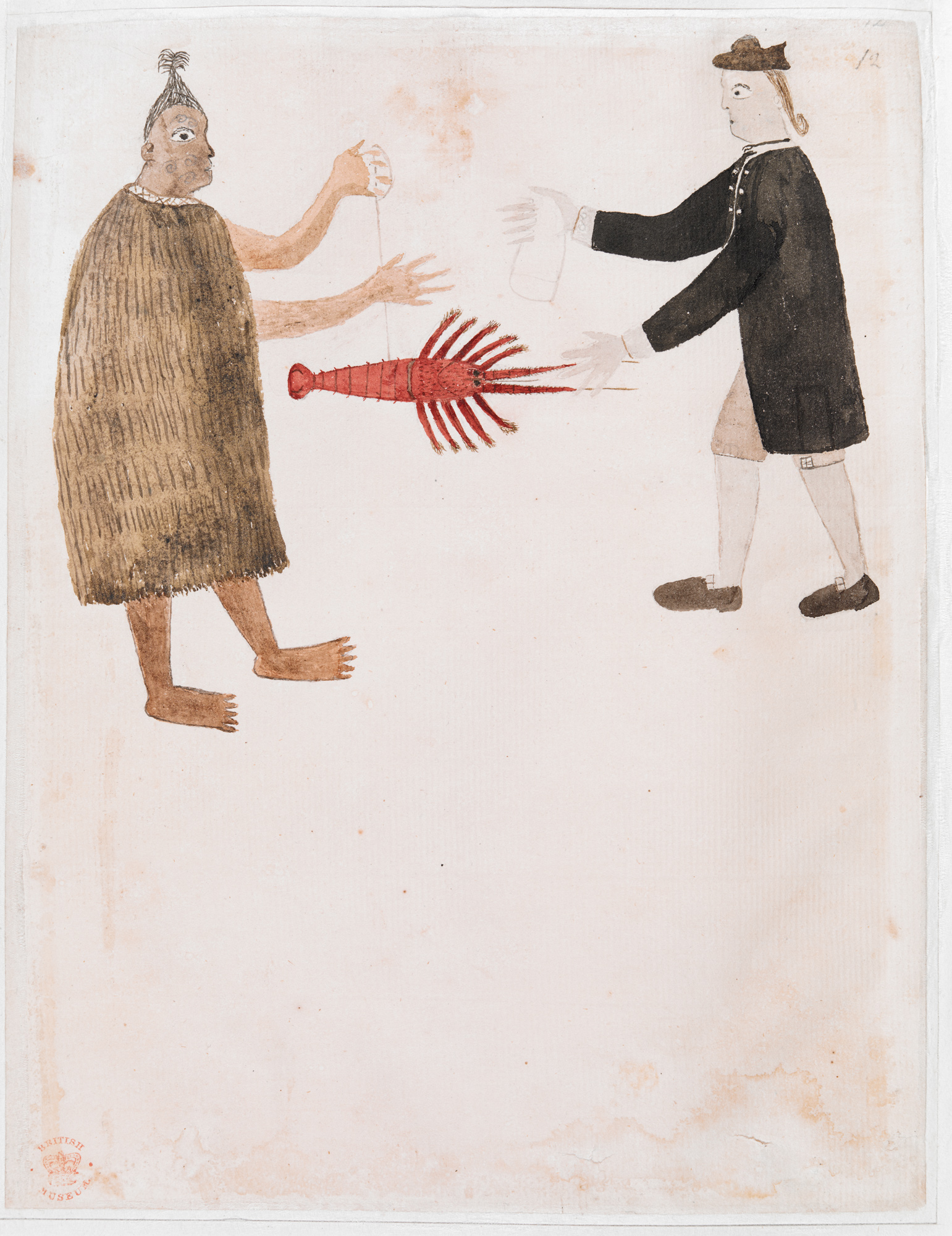 Maori trading a crayfish with Joseph Banks