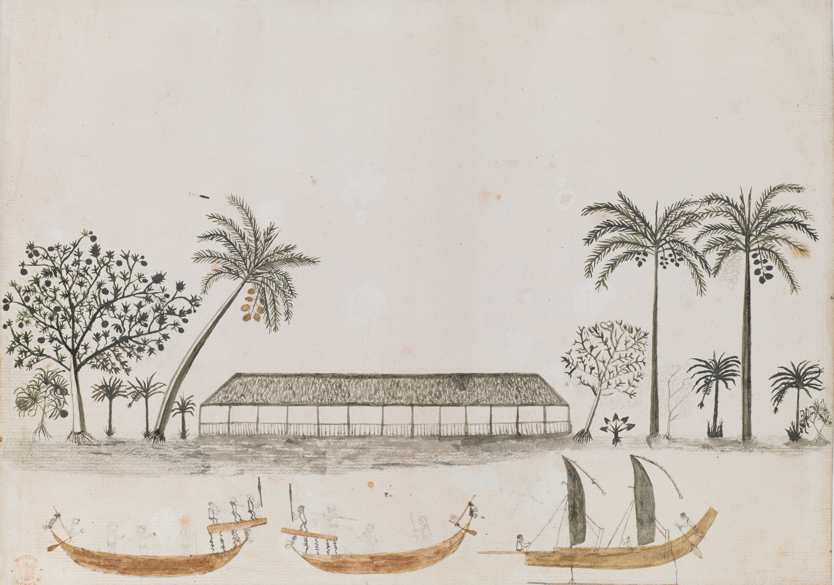 Tupaia, [A Scene in Tahiti], 1769, British Library, Add MS 15508, f. 14