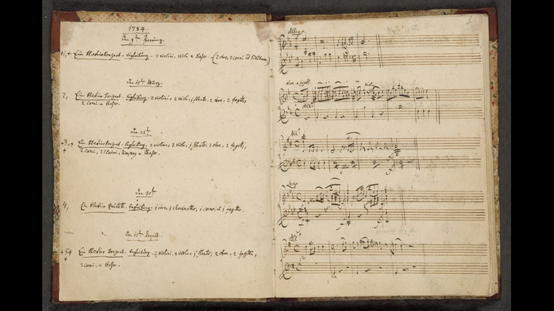 Two pages from Mozart's thematic catalogue with the works listed on the left and the music on the right