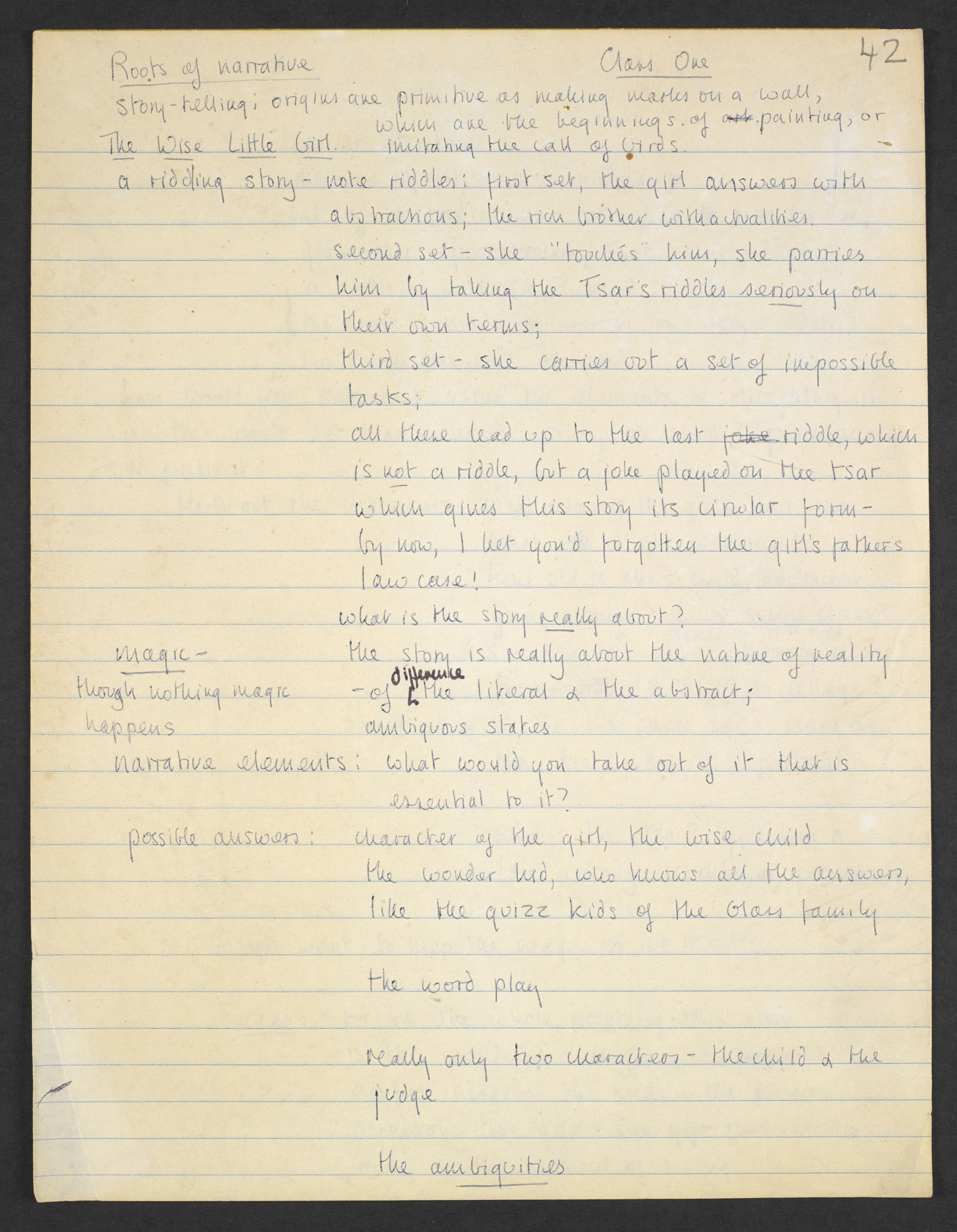 Angela Carter's manuscript notes on fairy tale material