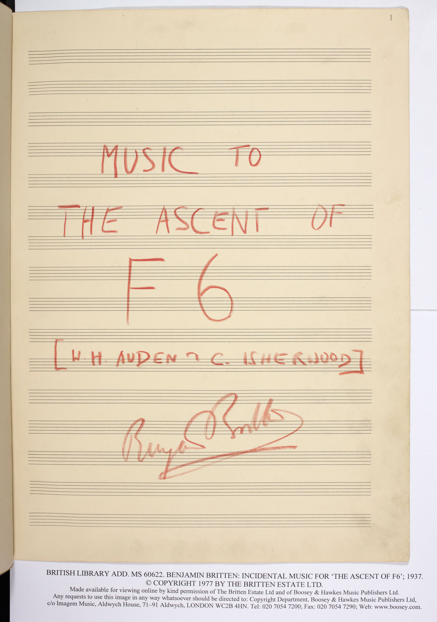 Benjamin Britten's music for Auden and Isherwood's play The Ascent of F6