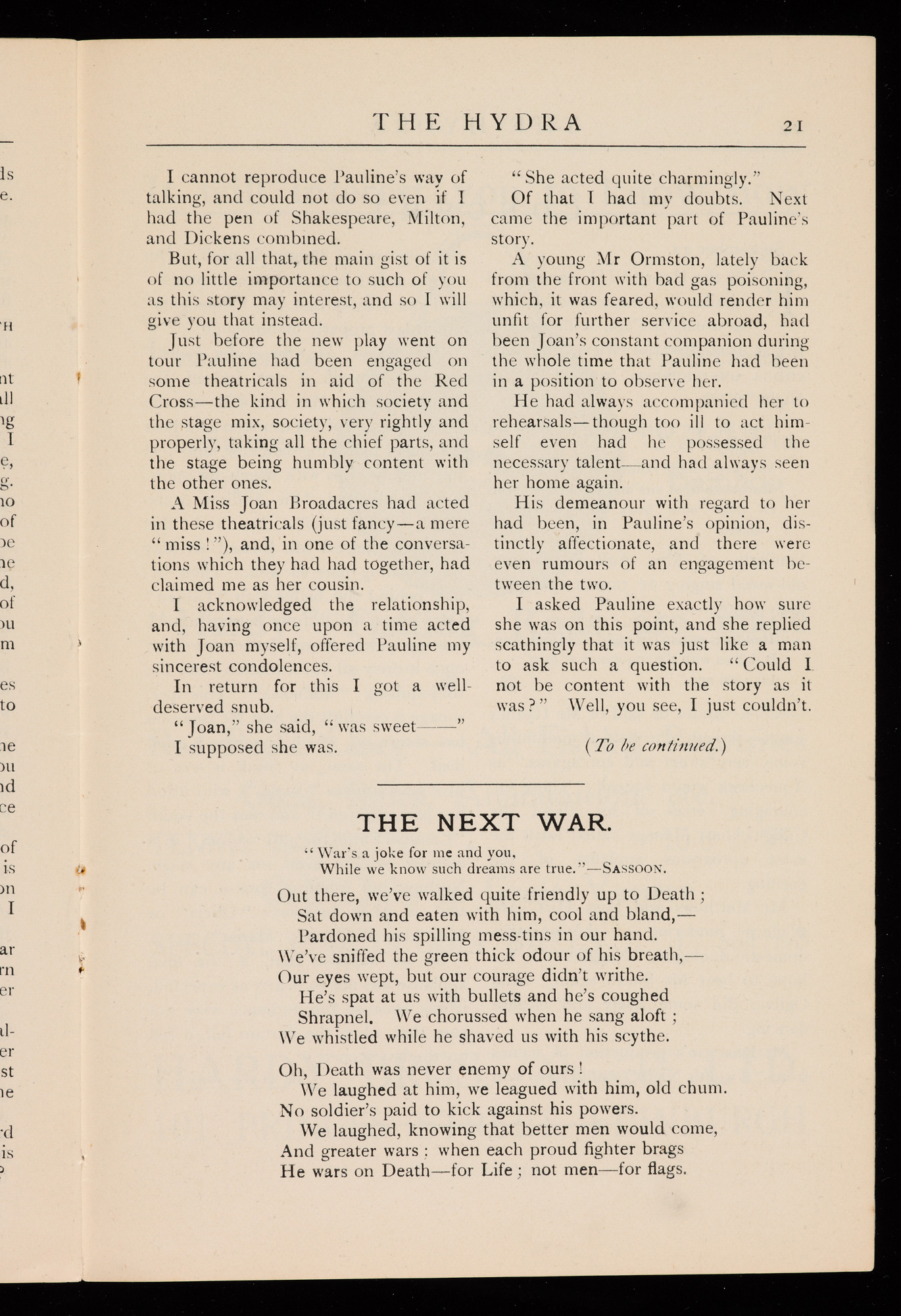 'The Next War' by Wilfred Owen, published in The Hydra