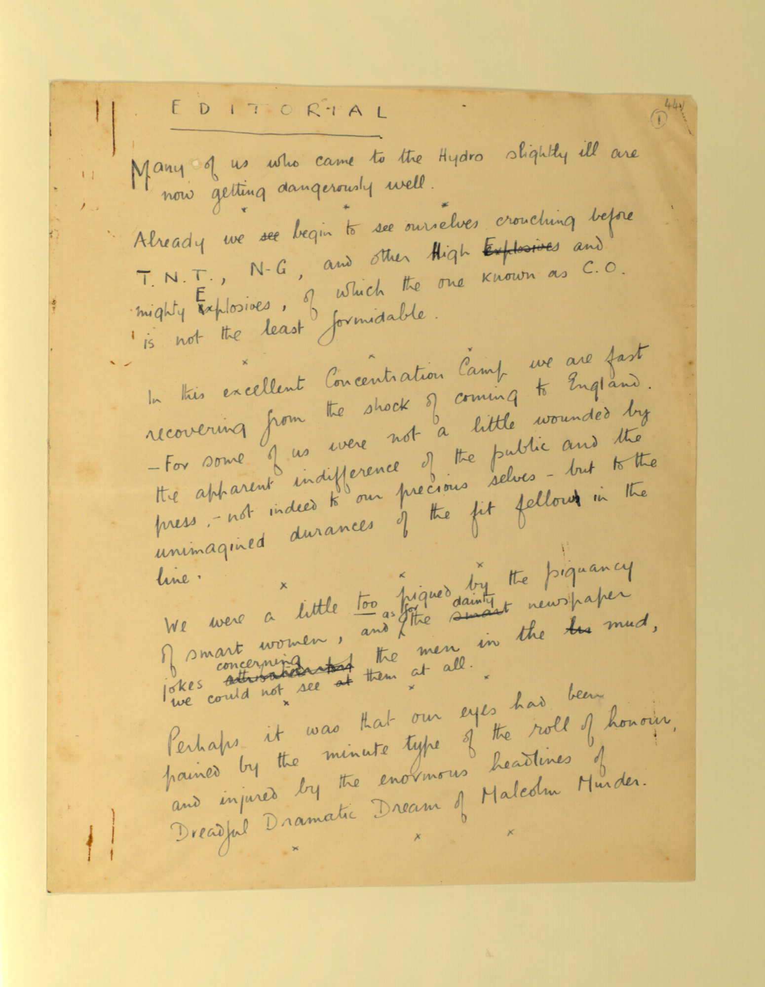 Wilfred Owen's draft editorial for The Hydra, 1 September 1917