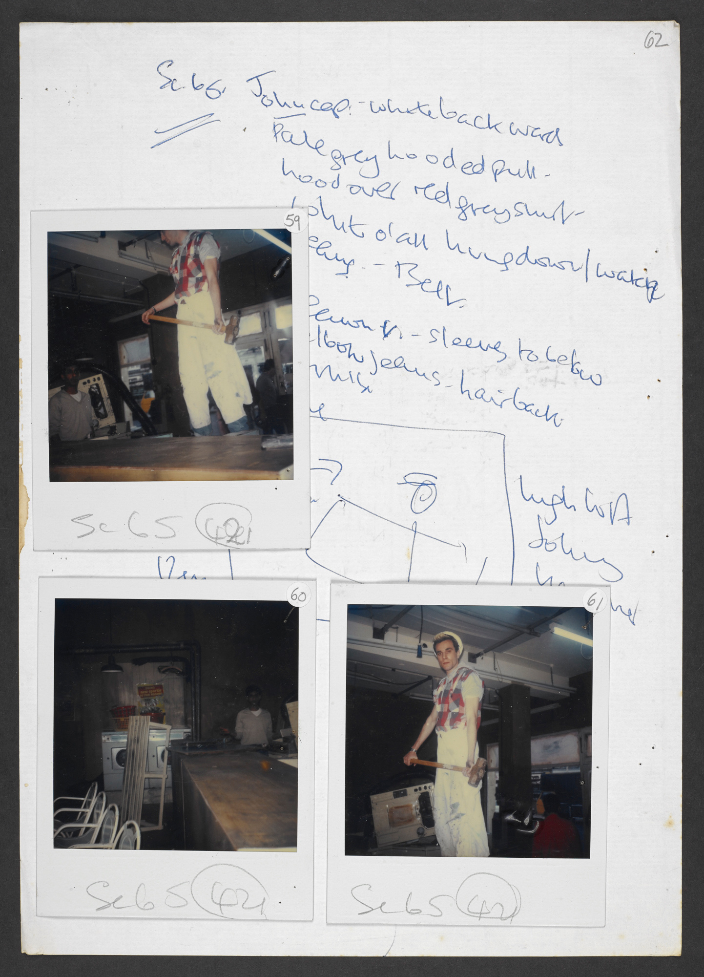 Continuity and costume notes for My Beautiful Laundrette, with Polaroids (part two)