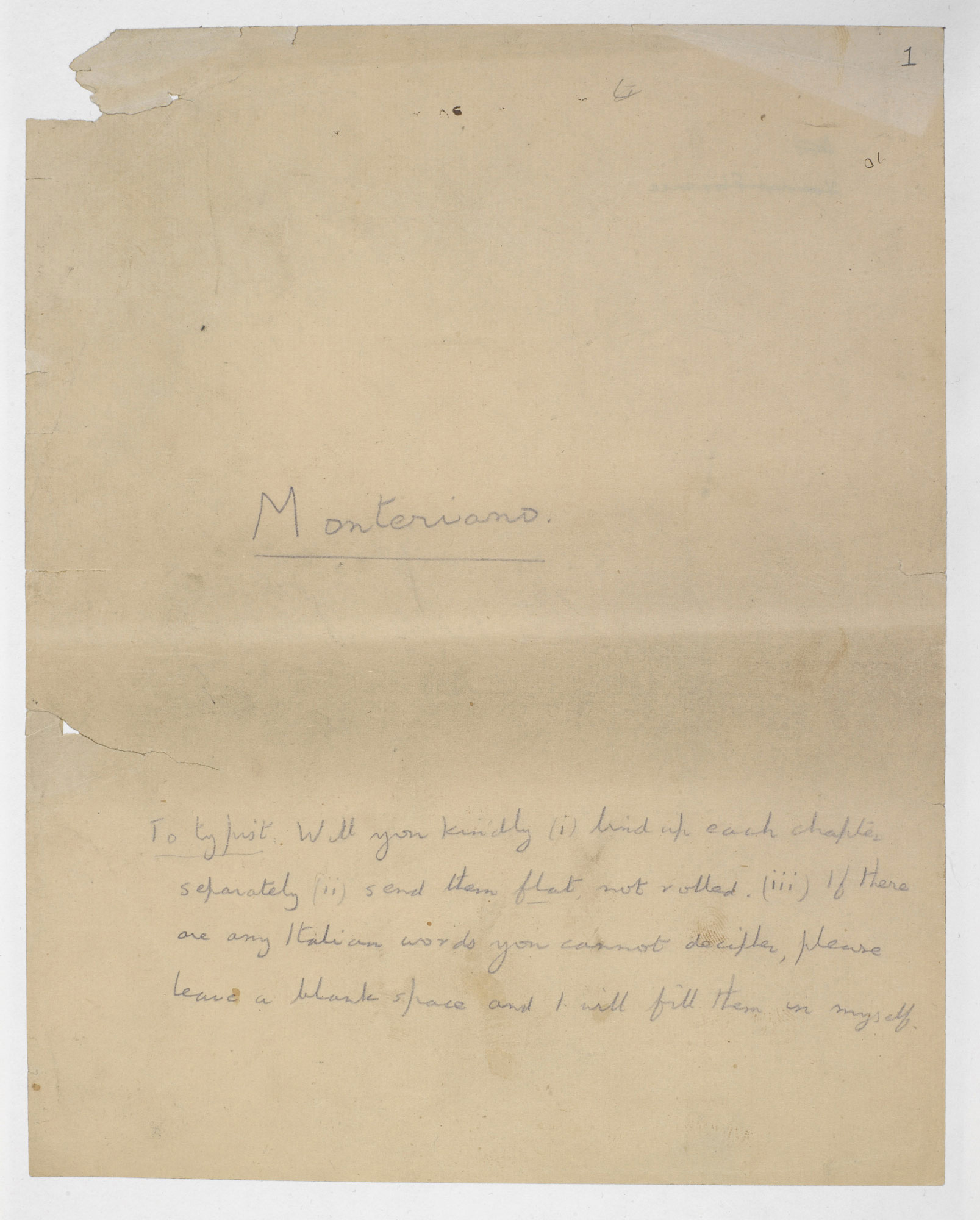 E M Forster's manuscript draft of 'Where Angels Fear to Tread'