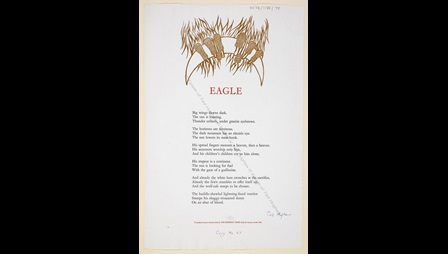 'Eagle' by Ted Hughes, printed by the Morrigu Press