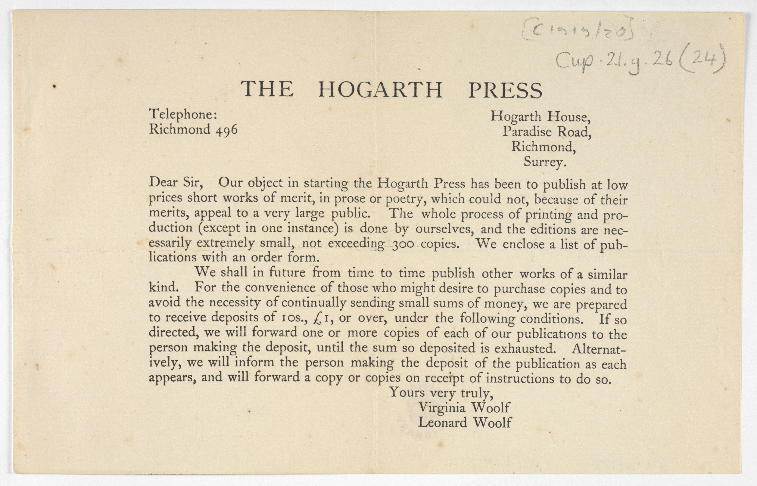 Flyer announcing the Hogarth Press