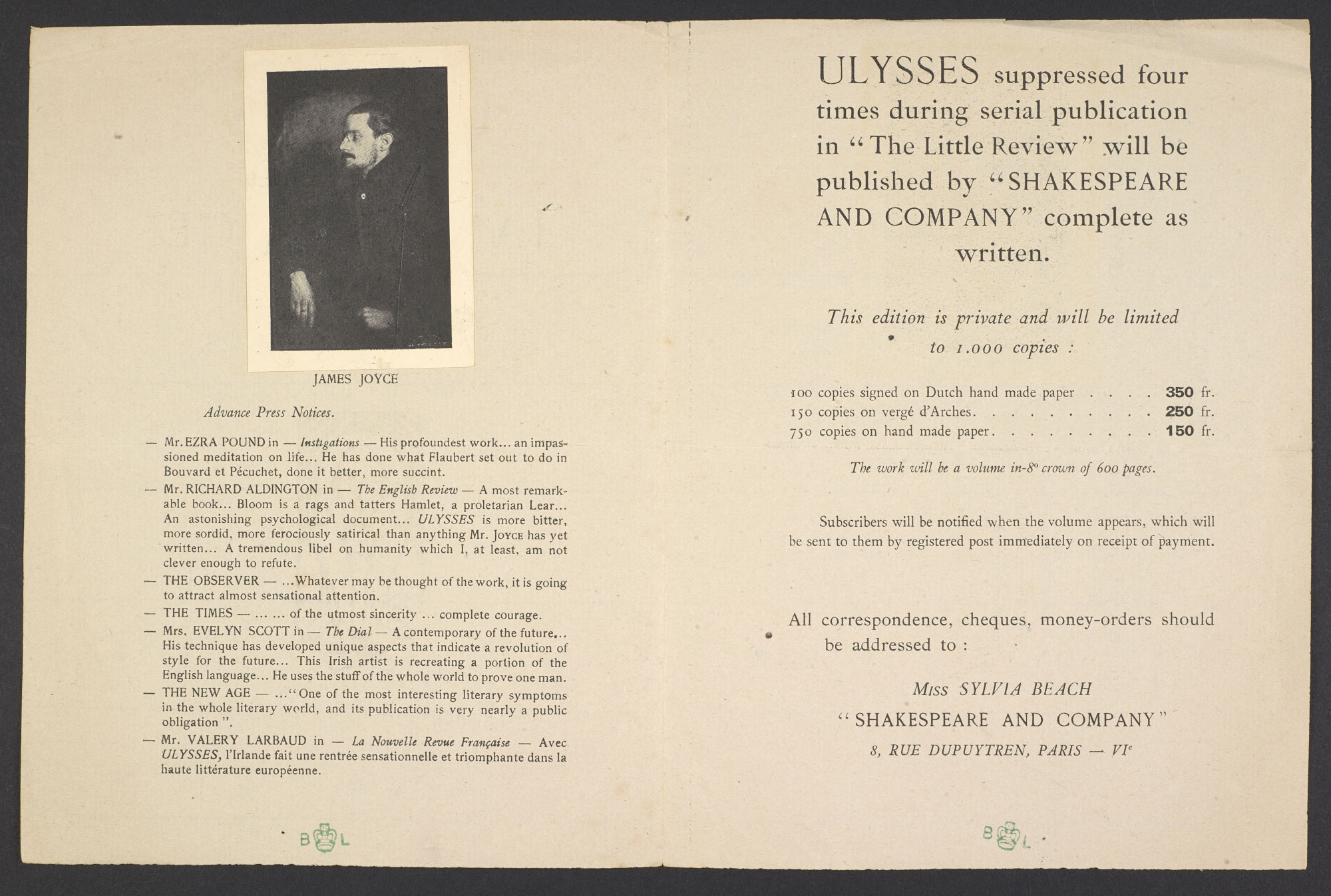 G B Shaw's order form for Ulysses