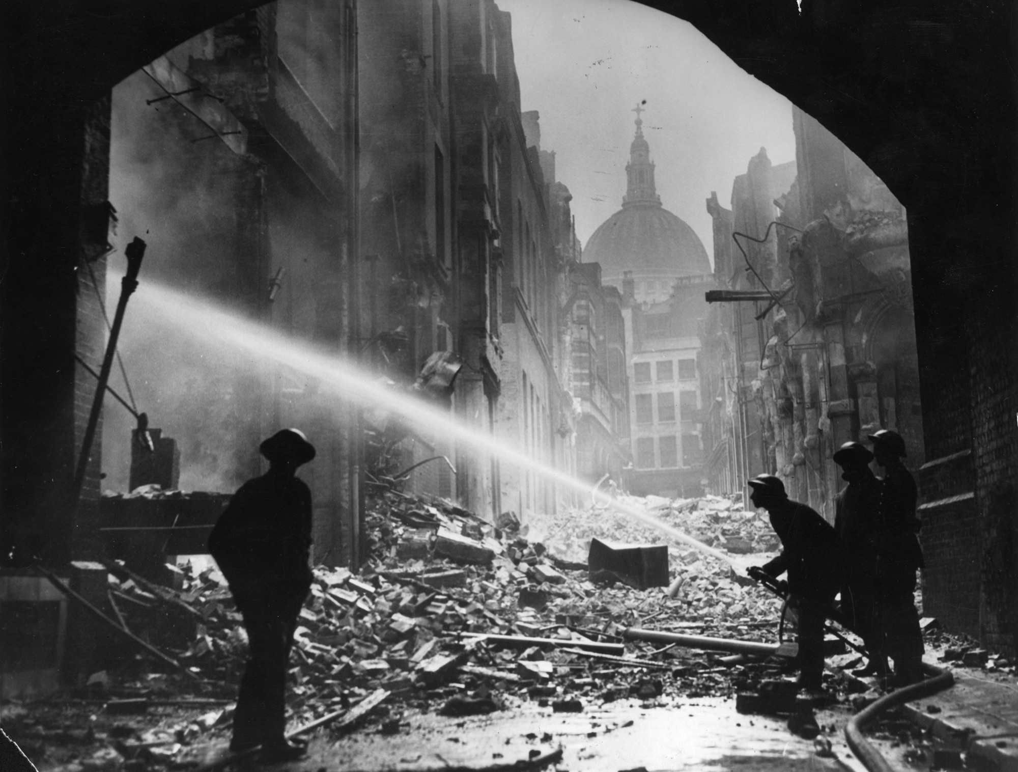Photograph of a Blitz fire in the area surrounding St Paul's Cathedral, 1941