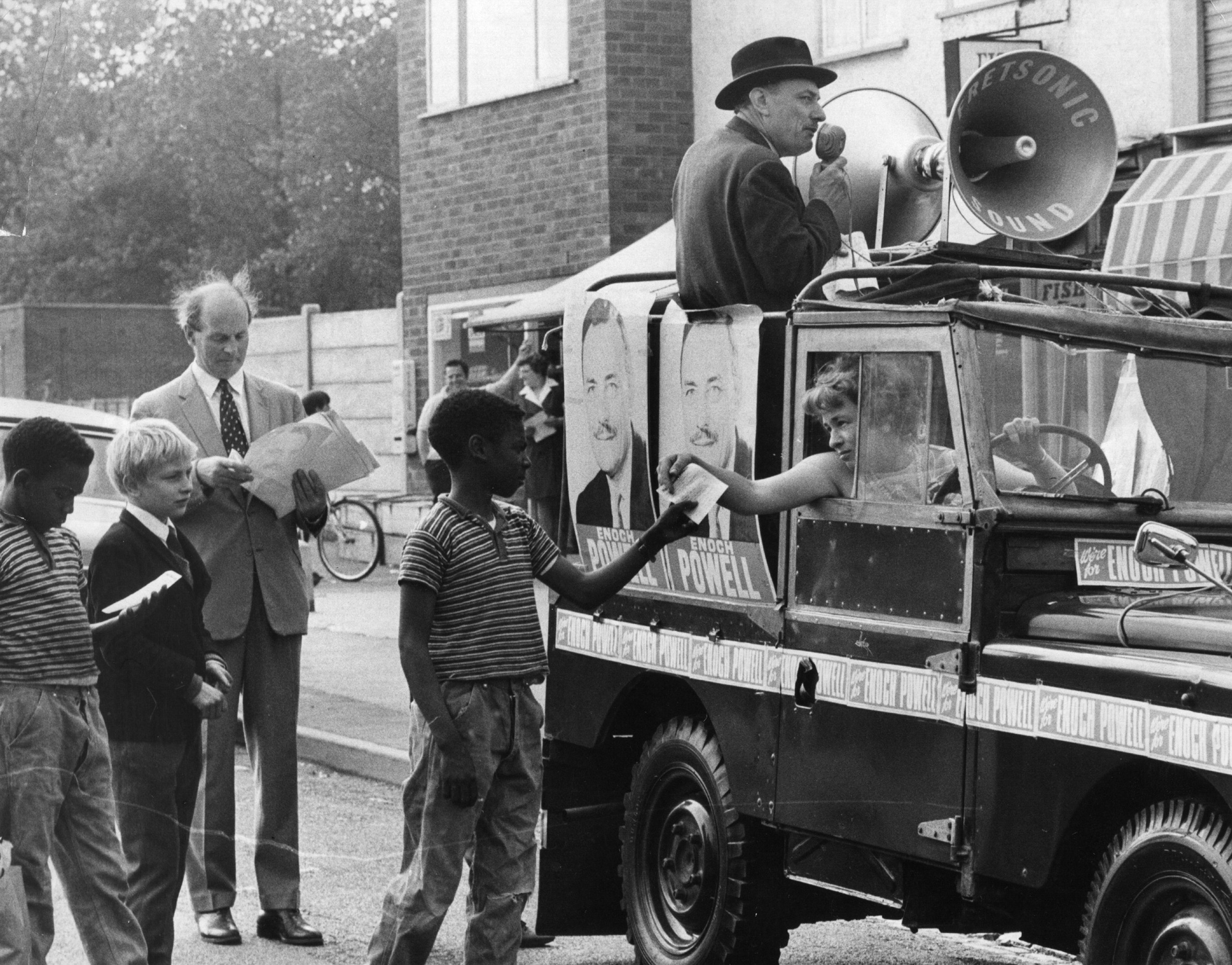 Photograph of Enoch Powell campaigning, 1970