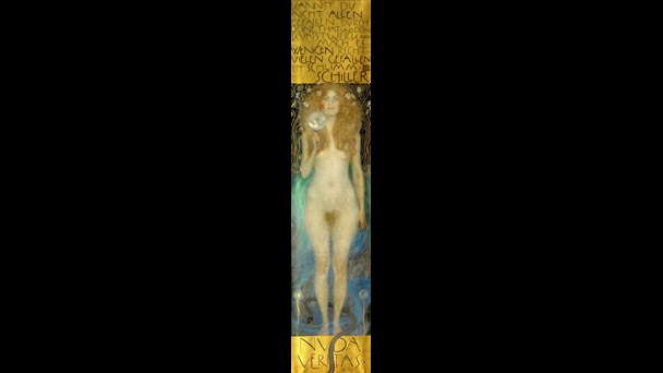 Painting titled Nuda Veritas, depicting a nude woman holding a mirror and standing in water, with gold blocks of text above and below the figure