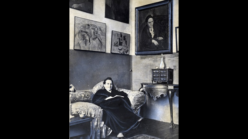 Photograph of Gertrude Stein in her Paris studio, 1930