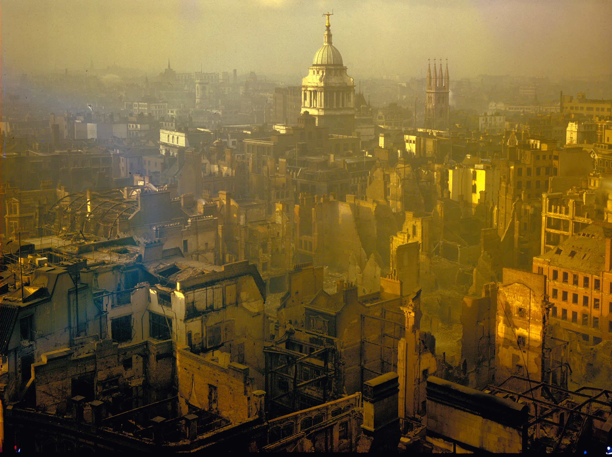 Photograph of the City of London after air raids during the Blitz, September 1940