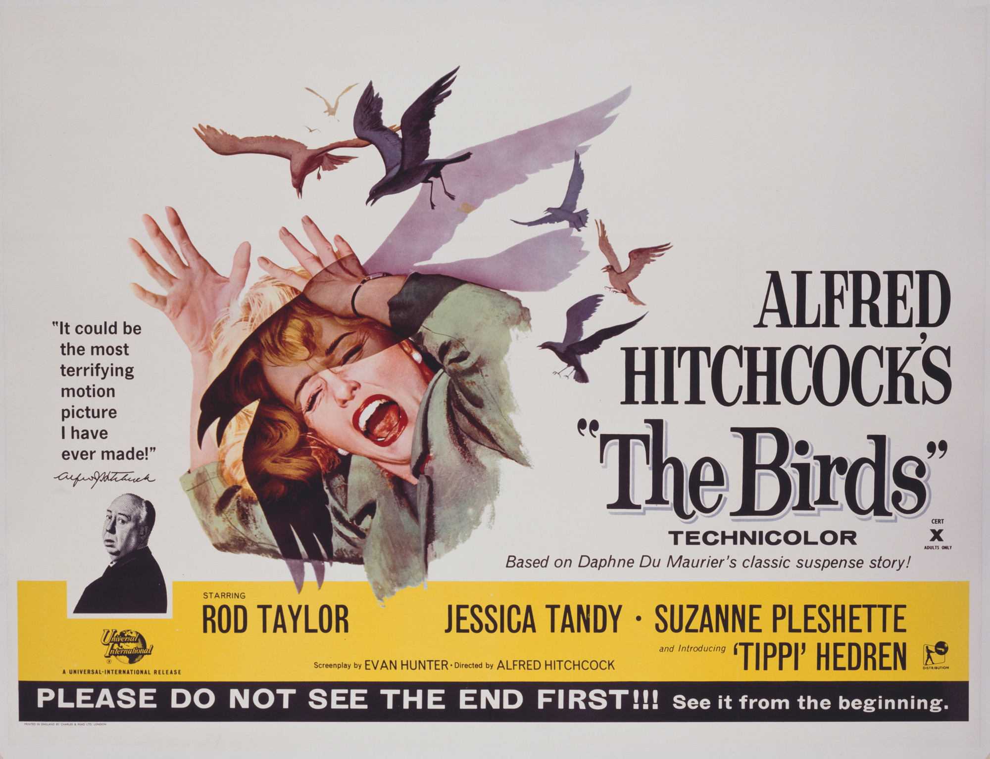 Poster for Alfred Hitchcock's The Birds, inspired by Daphne du Maurier's short story