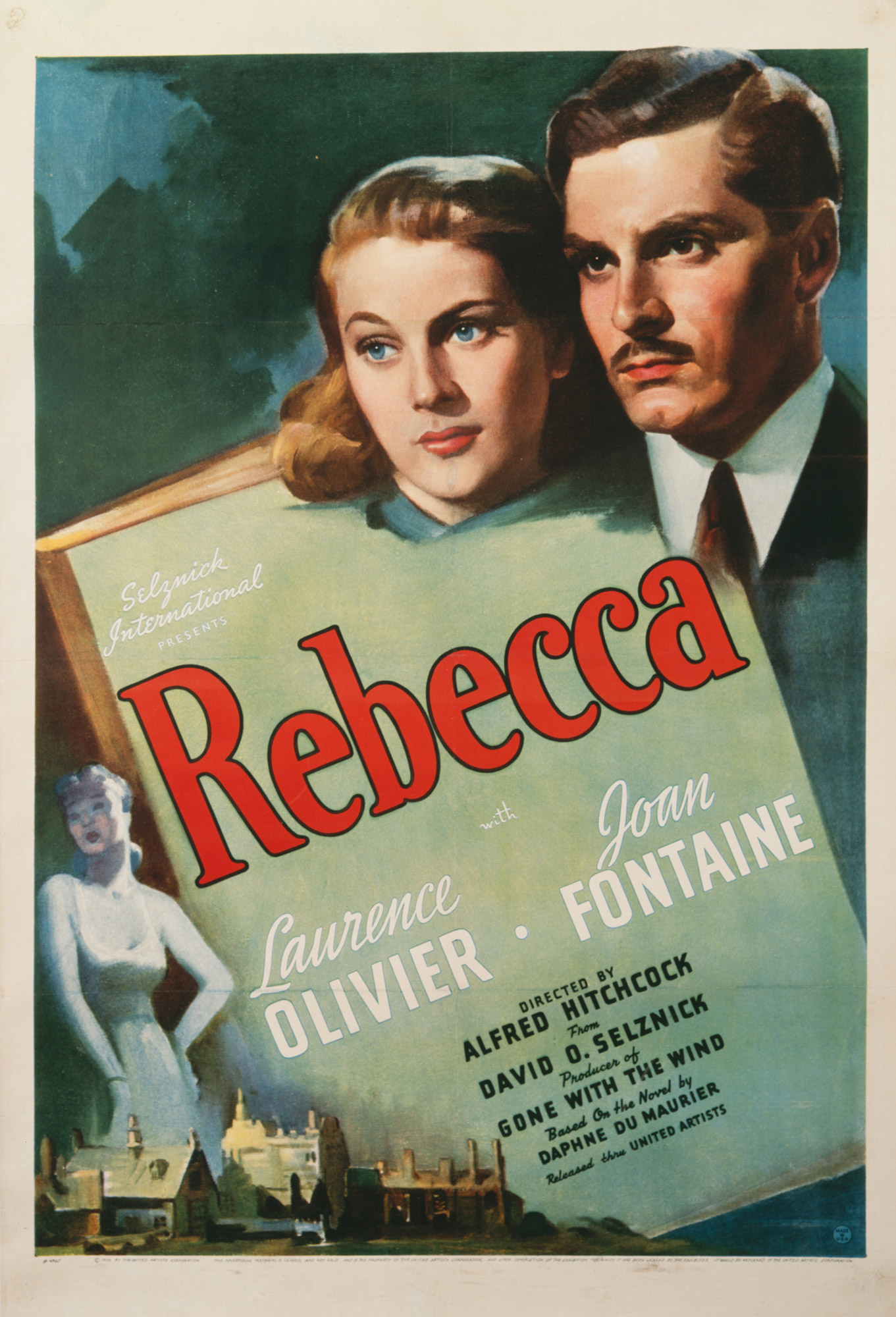 Poster for Alfred Hitchcock's adaptation of Daphne Du Maurier's Rebecca