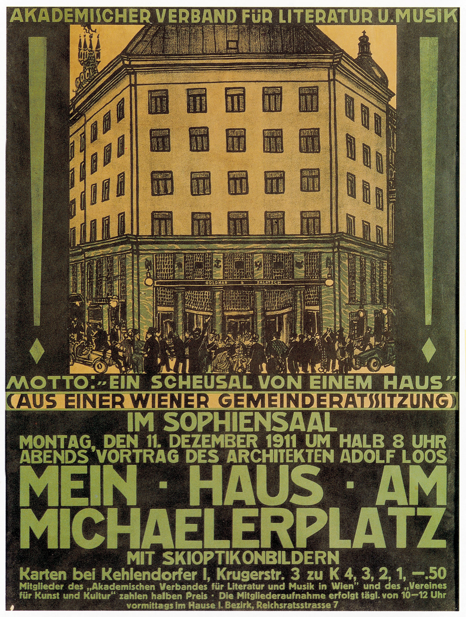 Poster for a lecture: 'My House on Michaelerplatz' (Mein Haus am Michaelerplatz) by Adolf Loos
