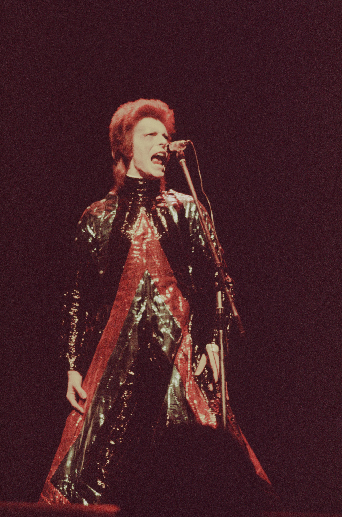 David Bowie in concert in Tokyo as part of the Ziggy Stardust tour.