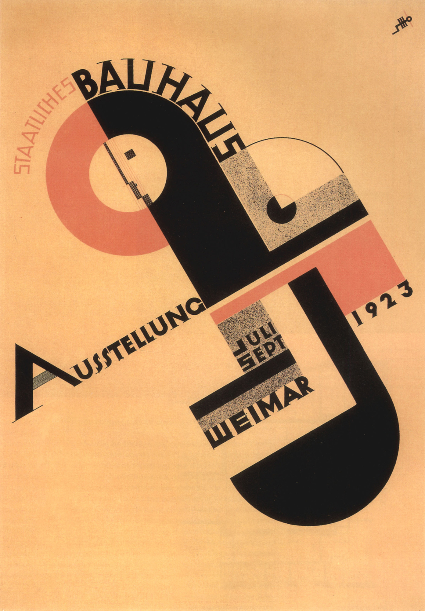 Poster of the exhibition of the Bauhaus in Weimar in 1923 by Joost Schmidt