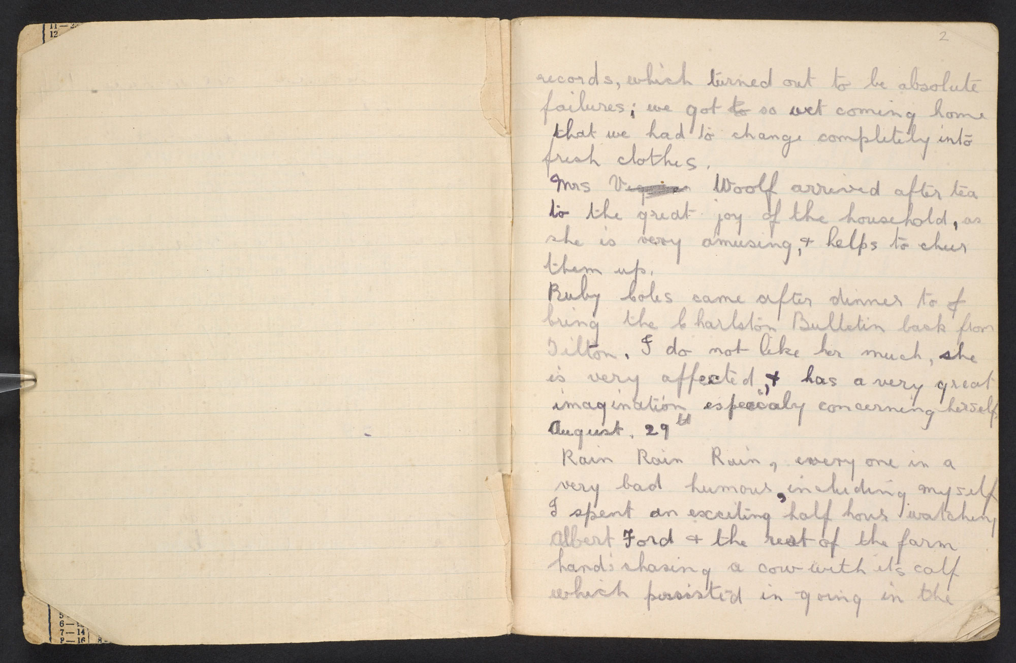 Grace Higgens' diary for 1924, with accounts of Virginia Woolf